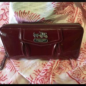 Coach Wallet gorgeous Crimson Patent leather